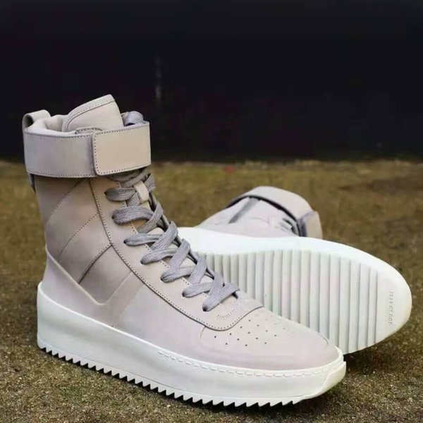 Hot Sale Lace-Up High-Top Men Sneakers Justin Bieber Street Style Black Gray Beige Military Ankle Boots Fashion Pop Star Men Casual Shoes