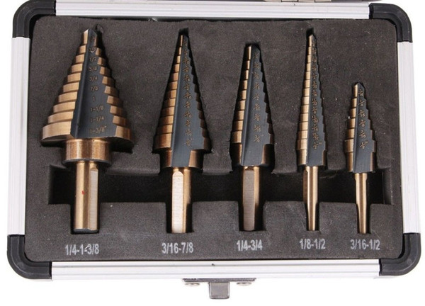 Arrival High Quality 5pcs/Set HSS COBALT MULTIPLE HOLE 50 Sizes STEP DRILL BIT SET w / Aluminum Case