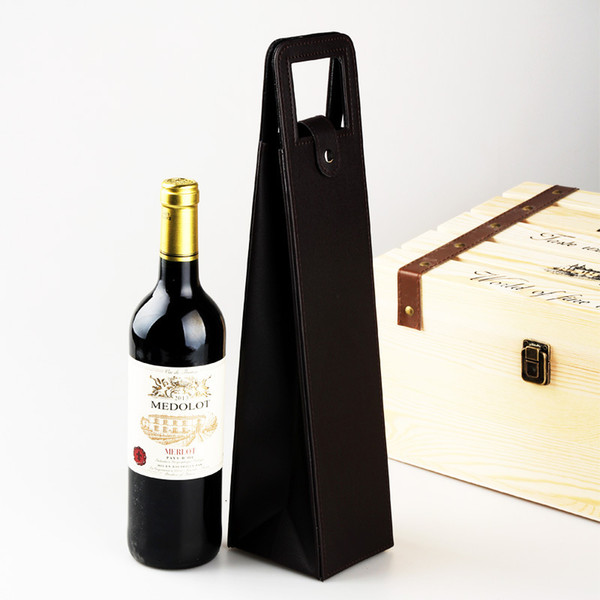 Red Wine Packing High Grade pvc Leather Fashion Classic Single Wines Bag With Handle Gift Storage Boxes Hot 10jx F R