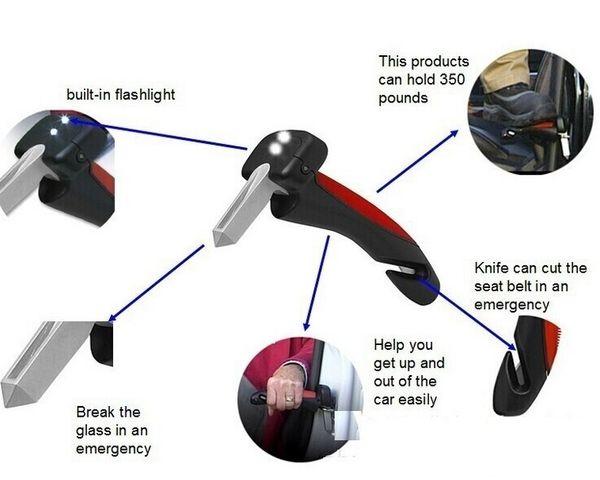 best selling 2017 Newly Car Door Armrests Car Cane Handle emergency hammer Flashlight Glass Breaker Belt Cutter Car Grip Tool