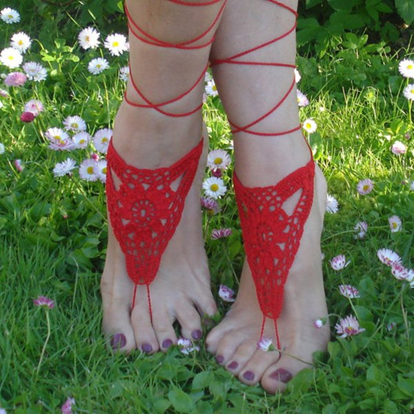 1 Pair OR 2 PCS Crochet Barefoot Sandals Red Barefoot sandals Beach Pool Nude shoes Foot jewelry Ankle
