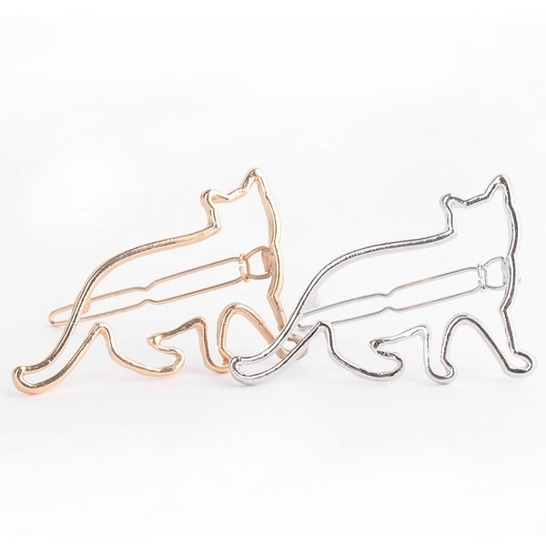 top popular 1 pcs Lovely Hair Clip Silver Gold Cat Shape Women Girls Hair Clip Clamp Fashion Jewelry Hair Accessories New Arrival 2019