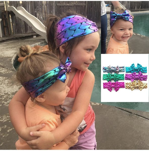 Mermaid Headband For Baby Girls 6 colors Sequin Bow headbands Children Shining Bowknot Hair Accessories Big Bows 24pcs lot A32