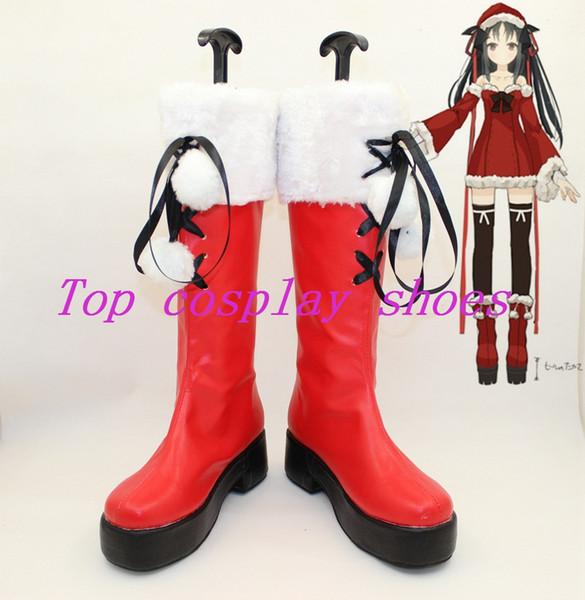 Toptan-Makine-Doll wa Kizutsukanai Kikou Shoujo Wa Kizutsuka Nai Suzumiya Haruhi Yaya Cosplay Ayakkabı Çizme kırmızı beyaz topu Noel