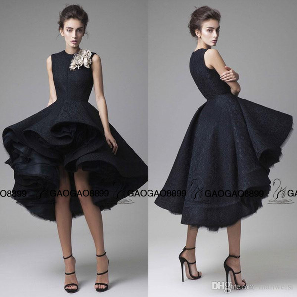 Krikor Jabotian high low Prom Dresses Hand Made Flower o Neck black homecoming Dress Knee Length Party Gown Sleeveless Formal Red Carpet