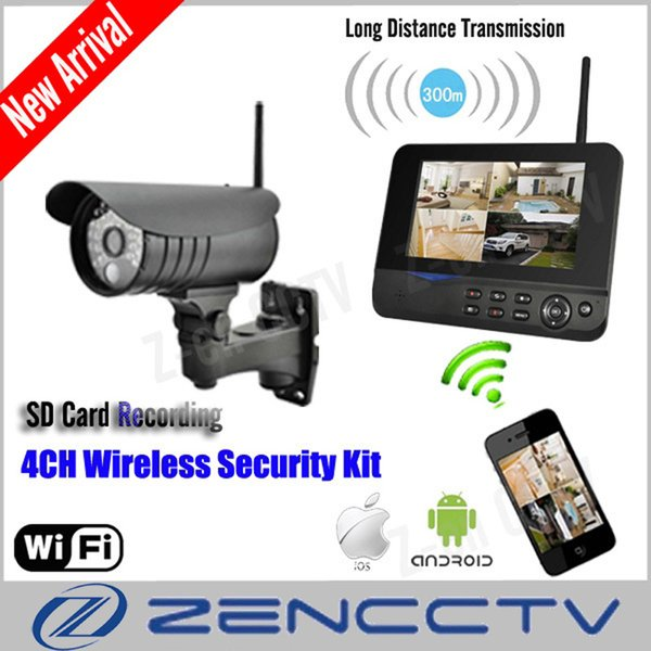 7 Inch TFT Monitor Home Security System Wireless Surveillance Kits With One CCTV Camera Recording PIR IP Remote Via Smart Phone