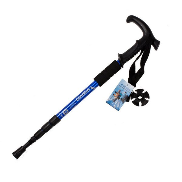 Walking stick Hiking Walking Trekking Trail Poles Ultralight 4-section Adjustable Canes H1E1