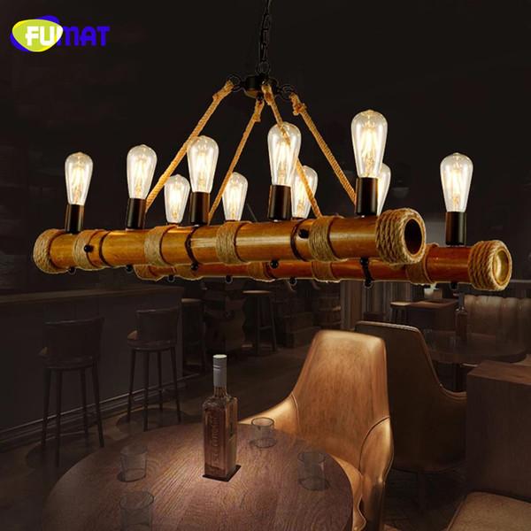 FUMAT Vintage Lustre Corde Lampe Loft Restaurant Bar Luminaires Suspendus Américain Rétro Suspension Lampes Lustres En Bambou