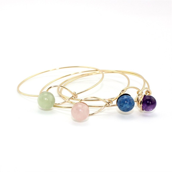 4 Colors Fashion Round Natural Stone Beads Open Cuff Geometric Punk Bracelet Bangle Women Party Jewelry