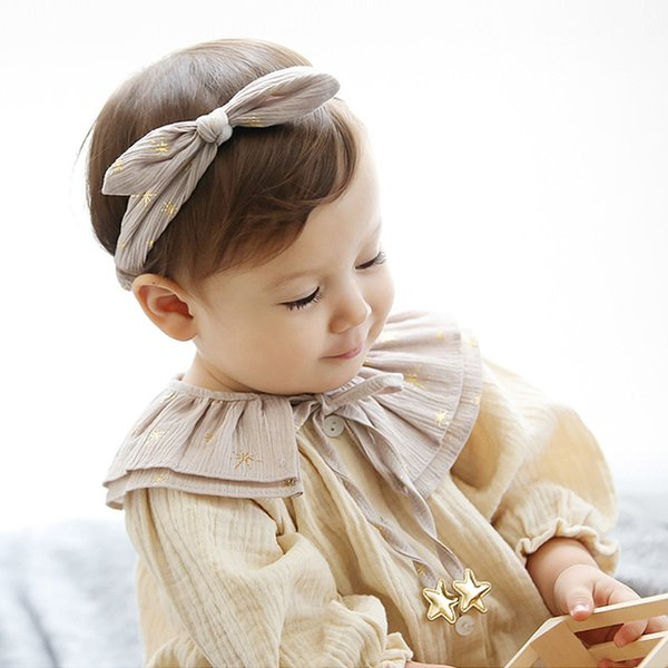 Gold Stars Design Headbands 20pcs/lot Toddlers Hairbands Baby Girls Free Shipping Silver Gray Blue Elastic Hair Bands