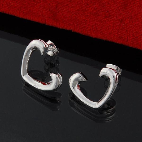 Factory direct wholesale 925 Sterling Silver Earrings, silver jewelry ornaments among open heart