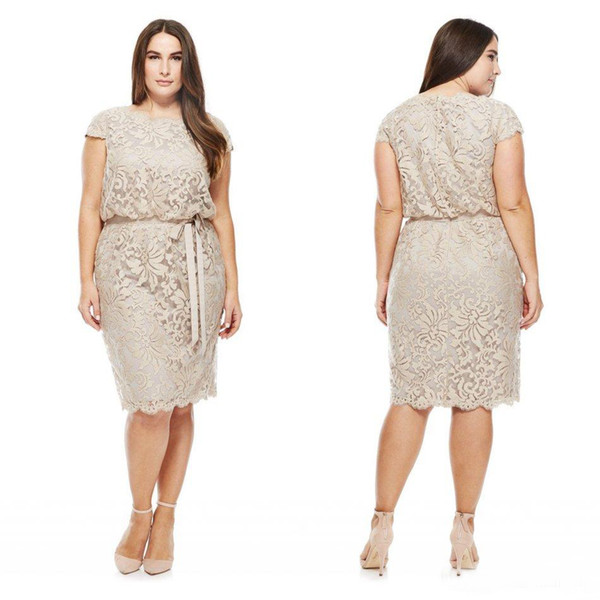 Plus Size Mother Of The Bride Dresses 2016 Latest Full Lace Short Sleeve With Sash Knee Length Cocktail Dress Custom Made China EN72110