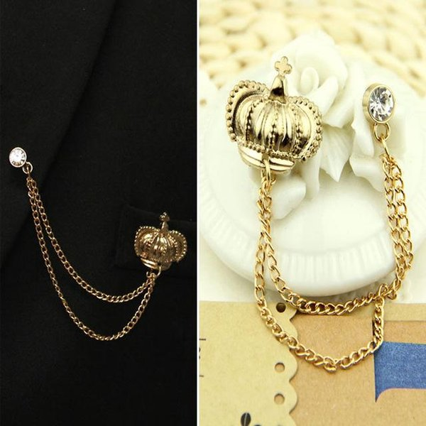 2017 New Top Fashion Broche Brooches For Crown Brooch Corsage Pin Female Male Tassels High-grade Suit Collar Accessories Tide