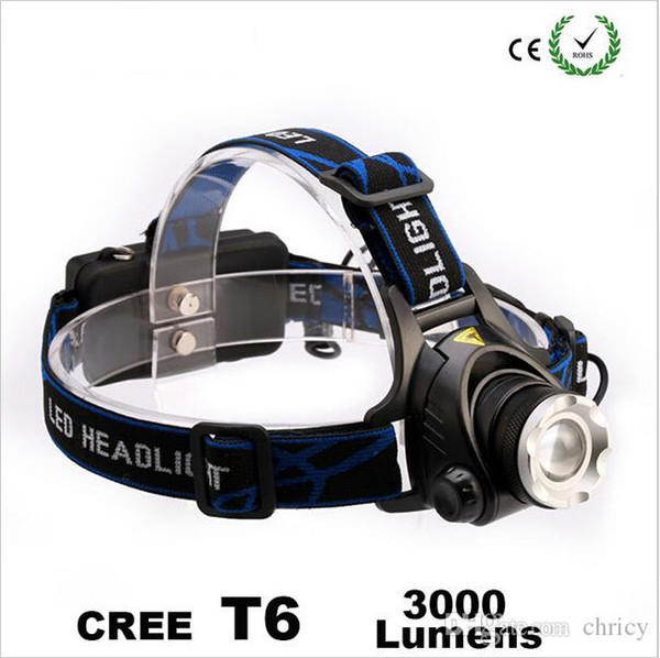 2016 New arrivals super bright CREE XM-L XML T6 LED 3000 Lumens Rechargeable Zoom led Headlights CREE headlights for hunting