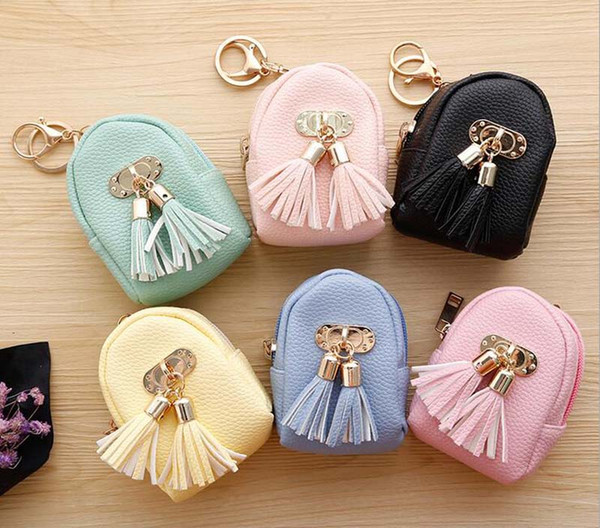 12pcs 2017 New Round Shaped Women fresh coin purses keychain short min wallets with tassel