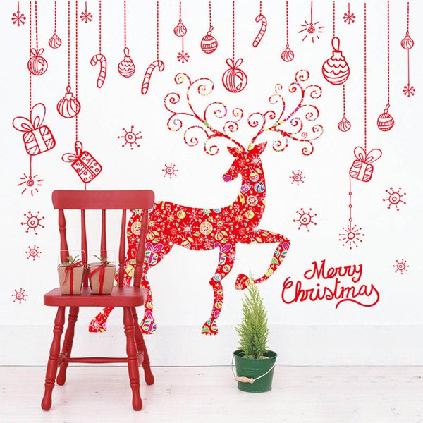 Colorful Elk Christmas Gift Box Wall Decal Stickers Window Glass Christmas Decor Wall Art Mural Poster Extra Large Merry Christmas Wallpaper