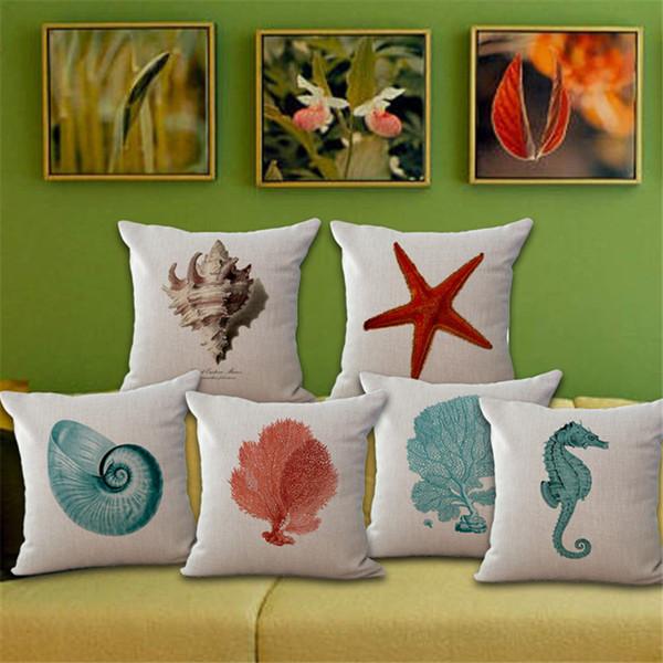 Federa per cuscino per animali marini in lino di cotone Federa per cuscino Conchiglia Cavalluccio marino Cuscino per corallo Federa per arredamento 240480
