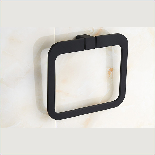 best selling Bathroom black square towel ring,wall mount decorative towel ring,bath hand towel ring,Free Shipping J15518