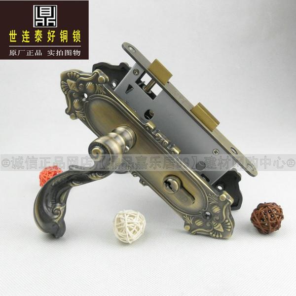 Autêntico Taiwan goodlink topsystem cobre cobre bloqueio europeu antigo quarto maçaneta da porta de bloqueio SM5205 ACU
