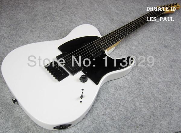 Top Venda JIM ROOT Artista ASSINATURAS Branco Tele Guitarra Elétrica EMG Pickups Maple Neck, Fingerboard Rosewood, Double Locking Tremolo Ponte