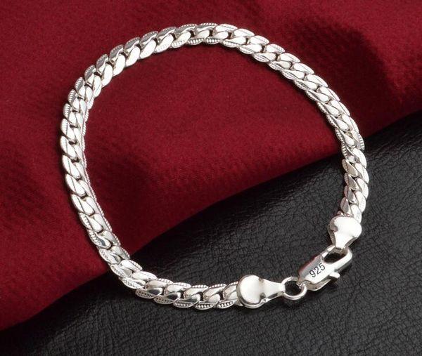 Low price Promotion! Mark 925 Bracelet Men/Boys 925 Sterling Silver Jewelry 5mm 20cm Chains 10pcs/lot