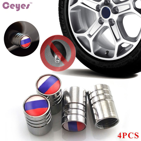 Car Wheel Tire Valves Tyre Stem Air Caps Cover for Russian Federation Flag Emblems Badge Car Tire Accessories Styling 4pcs/lot