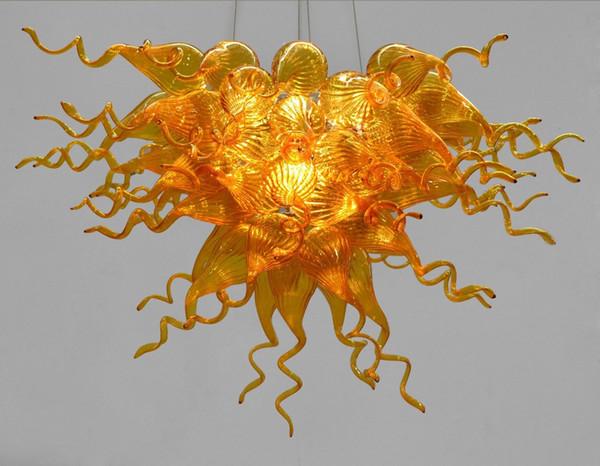 Lustre do vintage Lâmpadas Haning Preço Barato Estilo Chihuly Murano Mão Soprado Amber Galss LED Cadeia Lustre