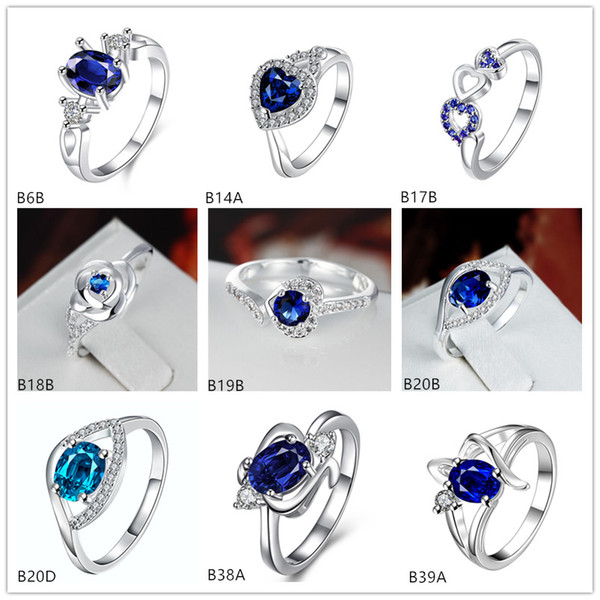top popular Mixed style high grade fashion blue gemstone 925 silver plate ring EMGR9,Ribbon shaped Oval plated sterling silver ring 10 pieces a lot 2019
