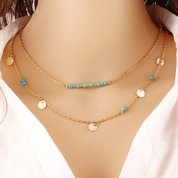 boho jewelry Turquoise beads double layer chain necklace hot selling coin tassle bohemia pendant necklaces jewelry Paillette Charms women