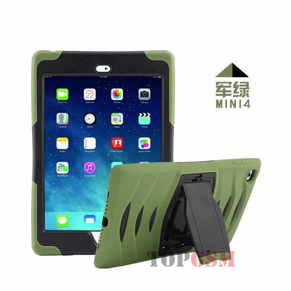 Shock Wave Hybrid Heavy Duty Military Hard Case Soft Rubber Armor Impact Defender Cover Skin With KickStand for iPad Mini 4 Mini4 IPM4C04