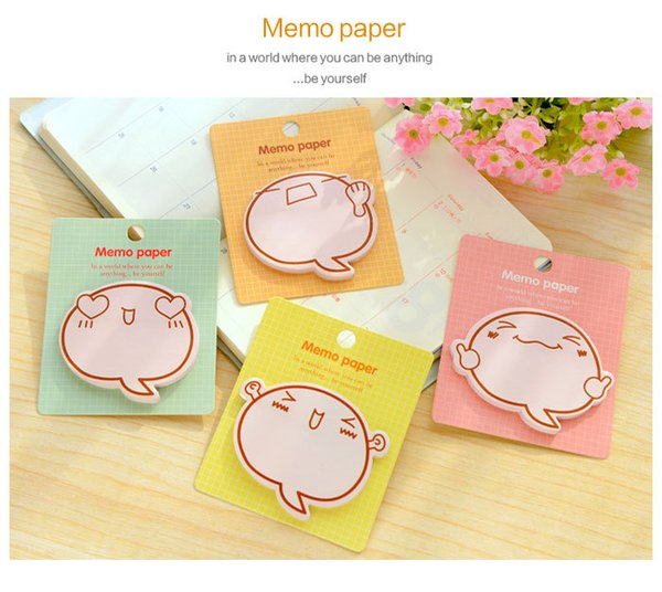 best selling 48pcs lot Good Creative cartoon expression pretty inspirational N times posted message sticky memo pad, school supplies students prize gifts