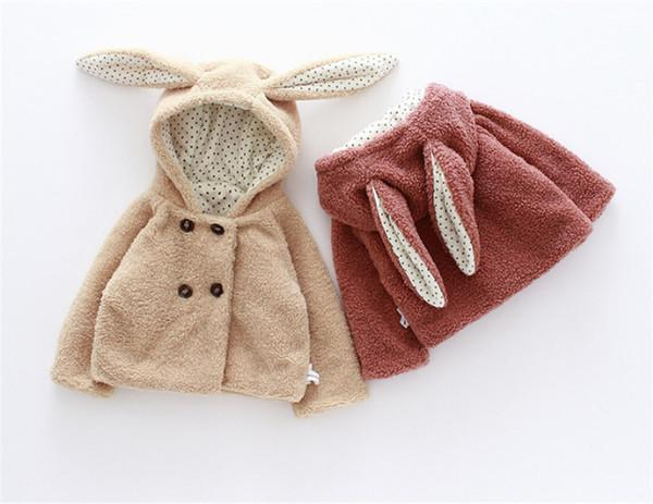 2 Color Cute girl Hoodies baby Girl Outwear Cartoon Animal Rabbit Outwear Teddy Velvet For Lovely Baby