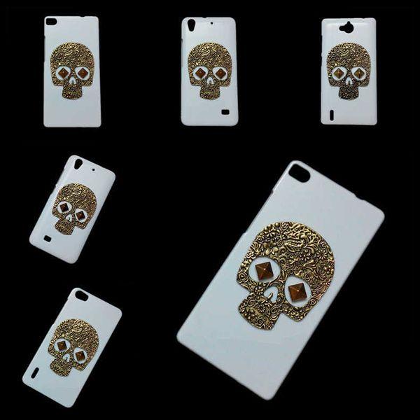 3D Vintage Retro Metallic Skull Skeleton Punk Stud Rivet Spike Back Hard Case Cover for Huawei Ascend P1 P2 P6 P7 P8 Lite P9 Lite Nexus 6P
