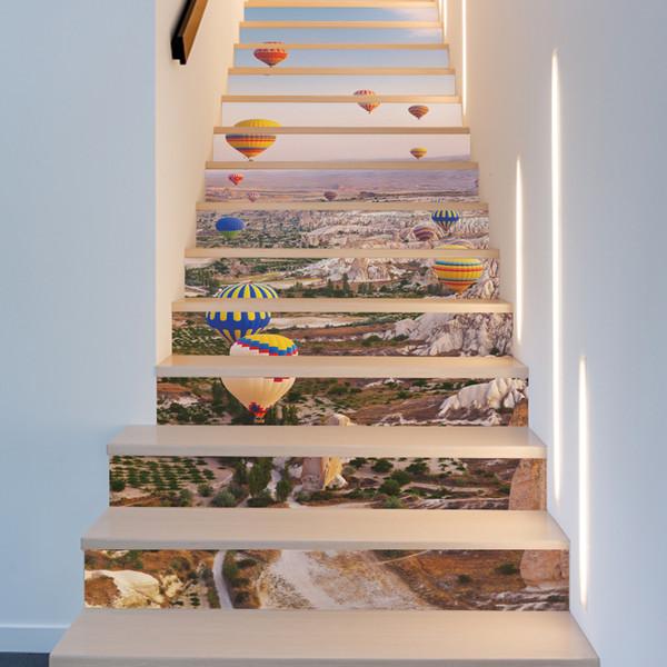 Hot-air Balloon Wall Stickers Mural 3D Stair Decal Natural Landscape Creative Corridor Floor Sticker Passageway Coverings
