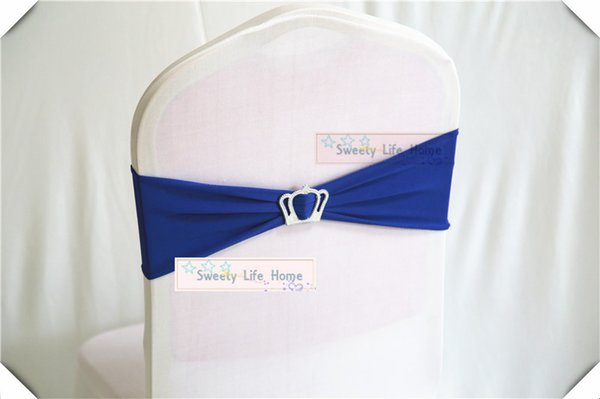 Royal Blue color New Desion Banquet chair sahes with Crown Buckle Stretch chair band Spandex chair bows for Wedding Event Decoration