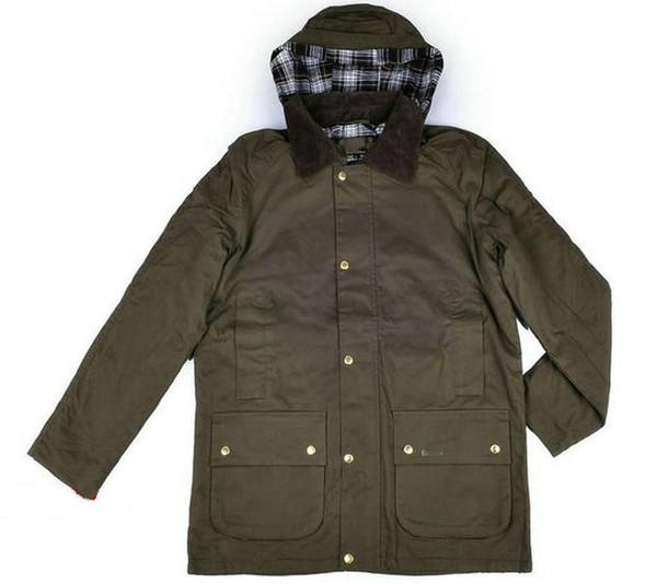 BaM01 Buena marca de fábrica de invierno otoño chaqueta de los hombres de algodón encerado Botón de la tela escocesa delgada chaqueta al aire libre Coats Casual Male