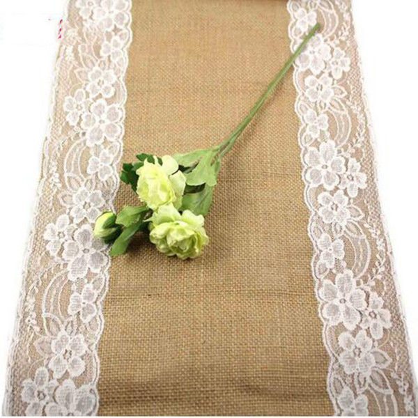 top popular Burlap Lace Hessian Table Runner 30cm x 270cm Vintage Event Party Supplies Lace Tablecloth for Wedding Accessories 2019