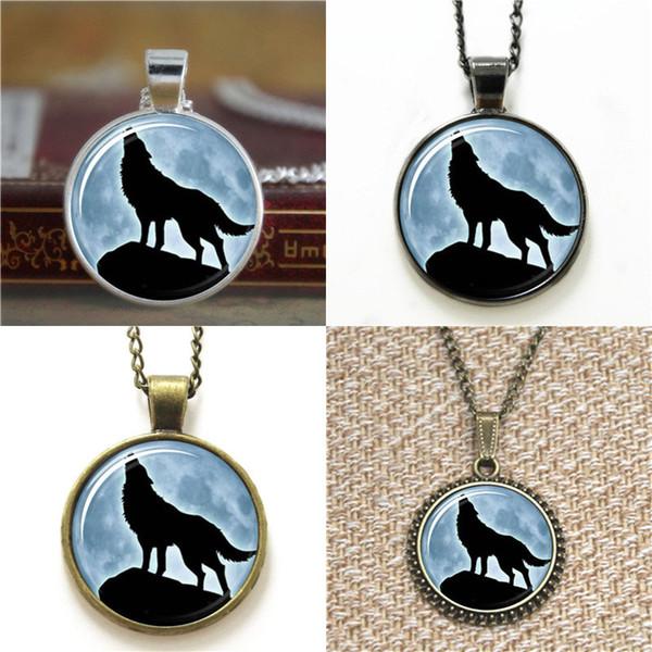 10pcs Howling Wolf Full Moon Woodland gioielli ciondolo collana portachiavi segnalibro gemello braccialetto orecchino