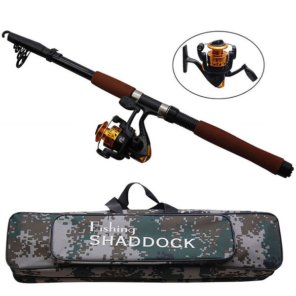 top popular 2.4m Fiberglass Telescope Baitcasting Fishing Rod And Reel Fly Fishing Casting Spinning Fishing Rods And Waterproof Bag Combo 2021