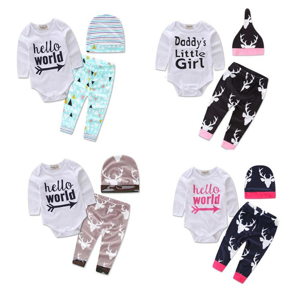 2017 Newborn INS 3pcs Clothing Sets Spring Autumn Baby girl boy long sleeve shirt+trousers+hat Casual outfit Size70-95 cute suit