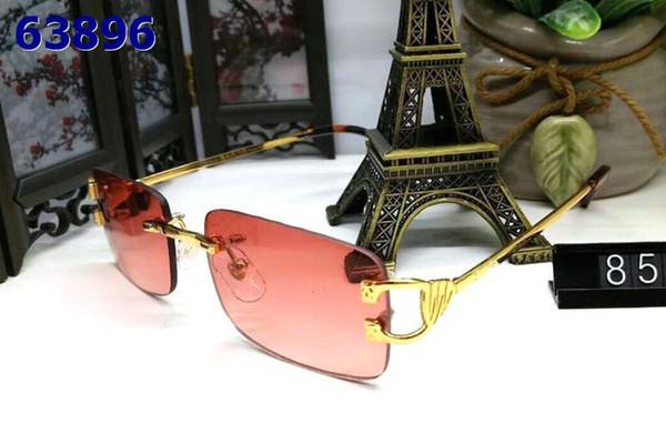 Gafas de sol sin montura hombre y mujer vintage unisex con caja Famous Lady UV400 gafas de cuerno de búfalo azul marrón rojo rosa dorado metal plateado