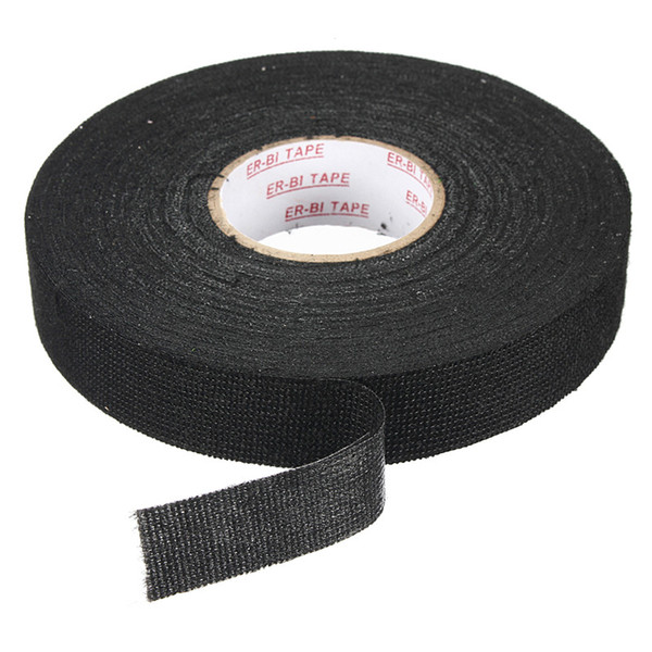 top popular Wholesale-High Quality Adhesive Force Black Wiring Loom Harness Adhesive Cloth Fabric Tape Cable Loom 25mmx25m Easy To Operate 2021