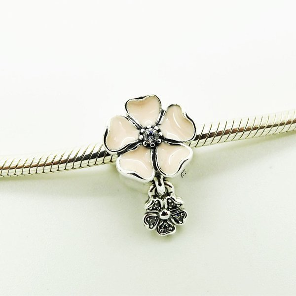 925 Silver Beads Charms Flower shape with Poetic Blooms with Soft Pink Enamel and Clear CZ 2016 Spring Jewelry Free Shipping