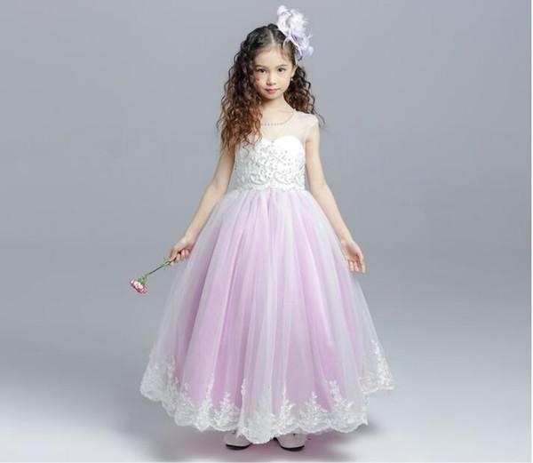 Düğün için güzel Pembe A-line Çiçek Kız Elbise AYDINLATMA Boncuklu Tül Çocuklar Yarışması doğum günü partisi Elbiseler Elbiseler Filles Fleur