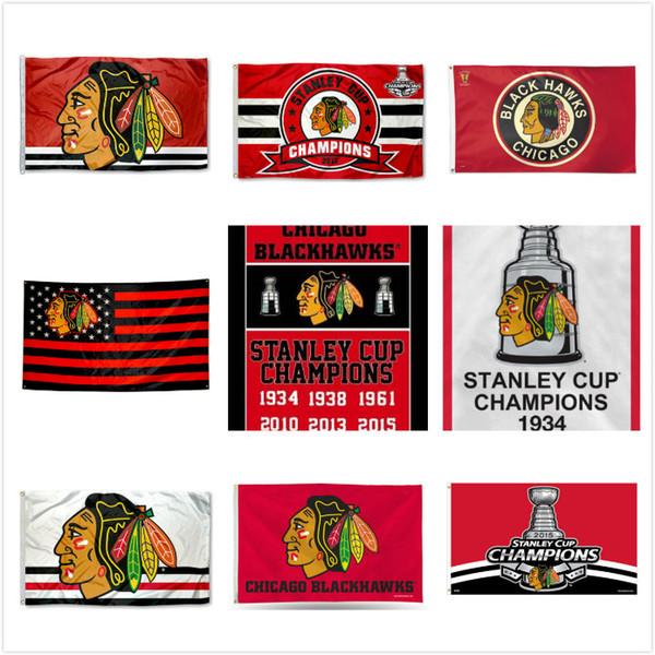 Chicago Blackhawks Hokeyi Bayrakları 2017 Stanley Kupası Şampiyonlar Bayrak 3x5 ft Hokey Şampiyonlar Takımı Bayrağı Futbol Fan Afiş 90x150 CM