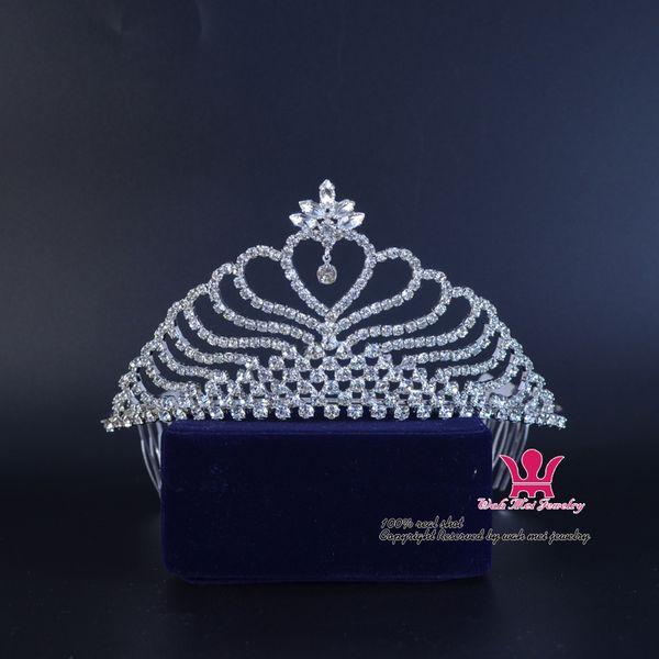 Bridal Diademi Corona Cuore strass Accessori per capelli Principessa Regina Cristallo Moda Diademi Pettine Fascia Clip Partito Prom Show 02397