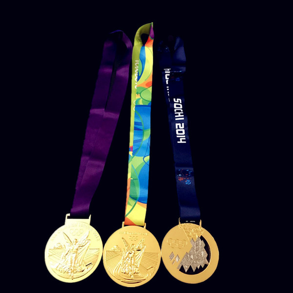 30 pcs / lot ( 10 sets ) Mix 3 design Brand new gold medals 2012 Lodon 2014 Soch winter 2016 Rio Olympic game badge player award gift