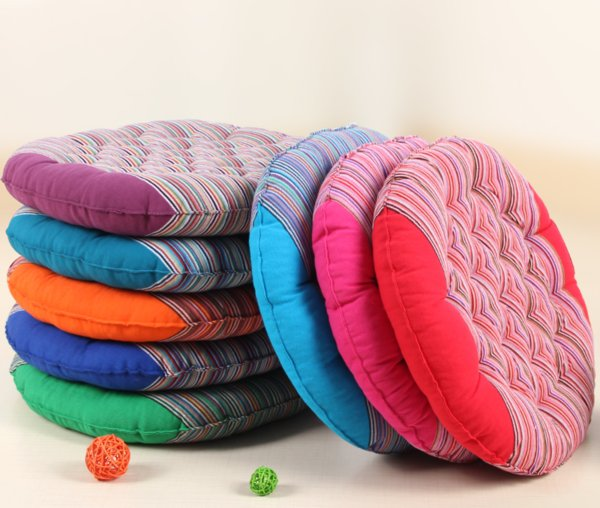 7 Colors Striped Round Chair Cushion Mat Coarse Cloth Cand Color Seat Pads With Cord 40*40CM Home Car Sofa Office Tatami Seat Pillow