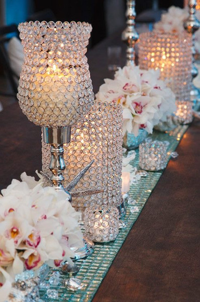 20 in Tulip Shaped Crystal Beaded Pillar Votive Candle Holder For Home decortaion