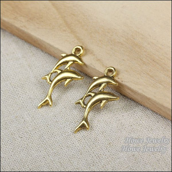 60pcs Vintage Charms dolphin Pendant Antique gold plated Fit Bracelets Necklace DIY Metal Jewelry Making R011
